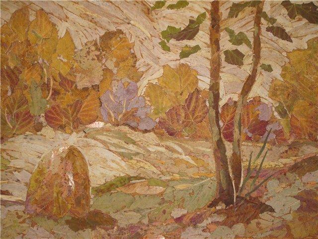 Картины из листьев своими руками фото